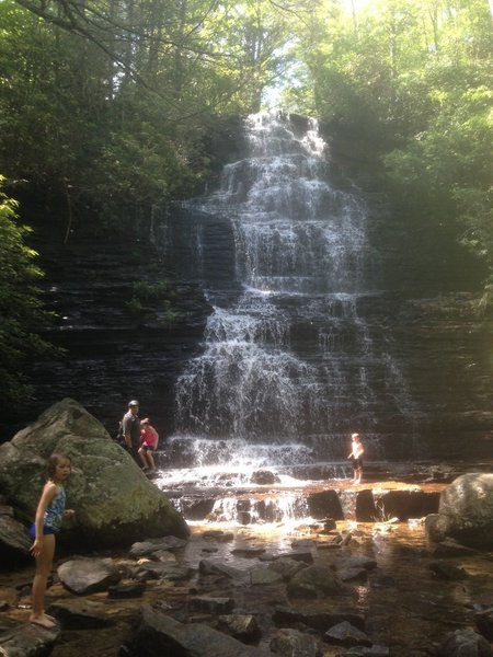 View of the nearby Benton Falls (accessed by a short hike-a-bike).