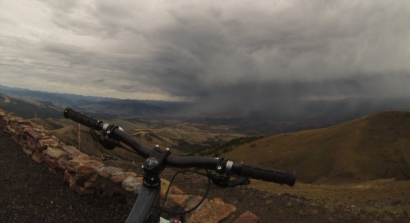 View of not so distant rain showers from the top of Mt Washburn.