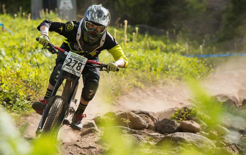 Ethan Lieb rounds the corner through the first half of the rock garden on the Fire Hydrant trail.