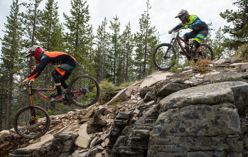 Jake Grob and Matt Orlando speed down the tech and chunk on the Ridge Trail.