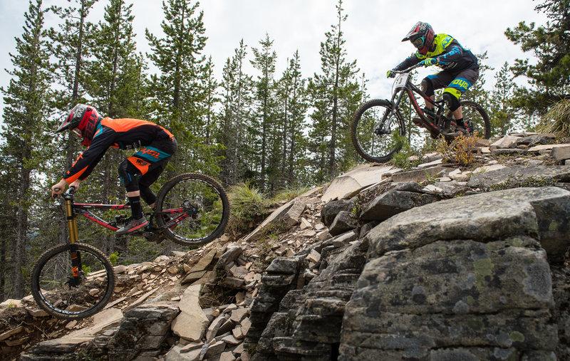Jake Grob and Matt Orlando speed down the tech and chunk on the Ridge Trail.