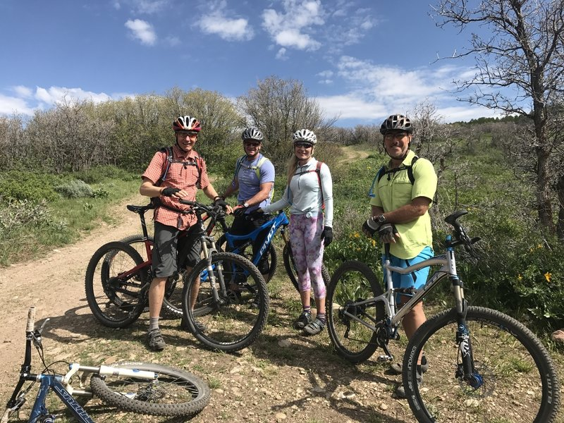 Taking a break for a photo while heading up the Preserve Connector to reach Flying Dog.