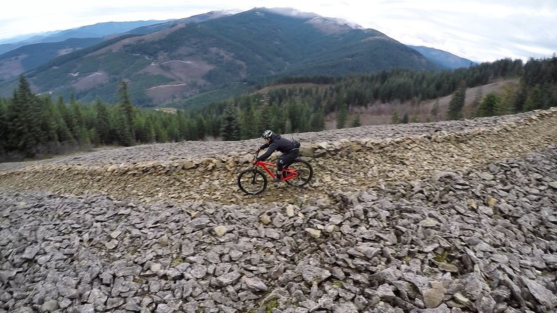 Barreling down scree on the Cold Creek Trail.