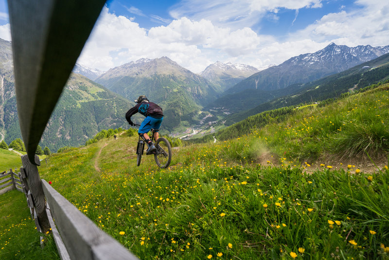 The top of Traien trail - panoramic views of the Ötztal Alps.
