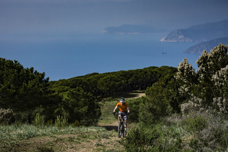 Climbing Monte Calamita with the southern coast of Elba in the background.