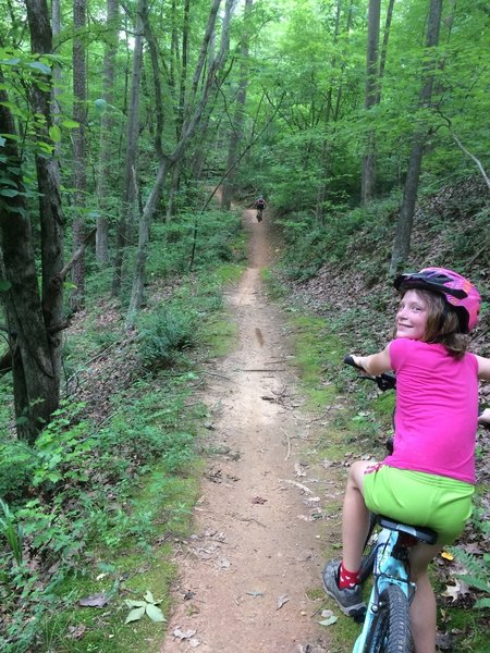 The flat and well-maintained trails at Paynes Creek Trail System are great for riders of all ages.