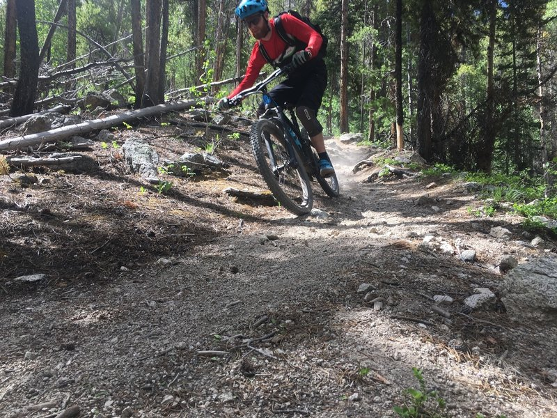 This rare smooth section of trail beckons you to open it up. Your body might want to just take a break, though, after the relentless rock smashing it just endured.