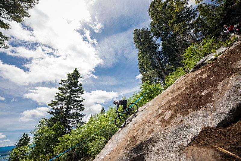 Hang on tight! Rock Star's granite slab is steep.
