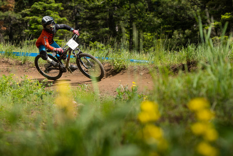 Smooth berms and fast singletrack carries riders to the base on Show-Low.