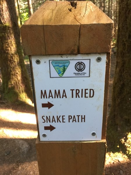 Sign for Mama Tried and Snake Path.