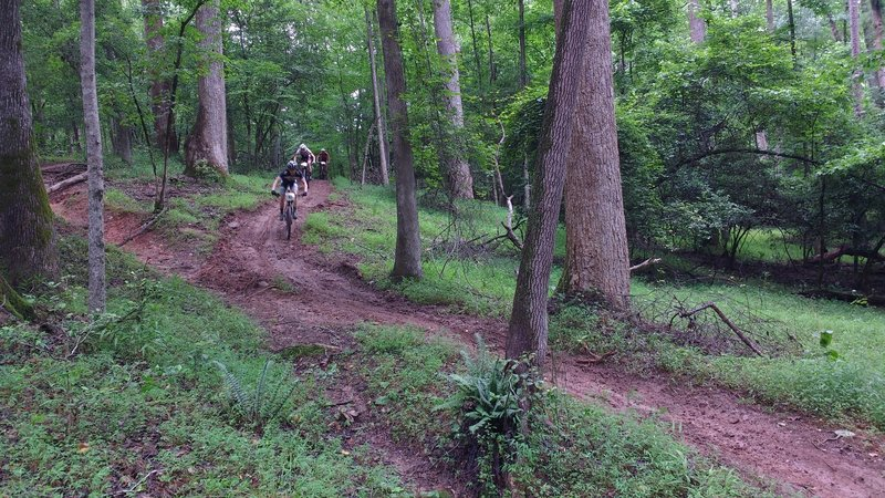 Riding down the Southside Loop trail.