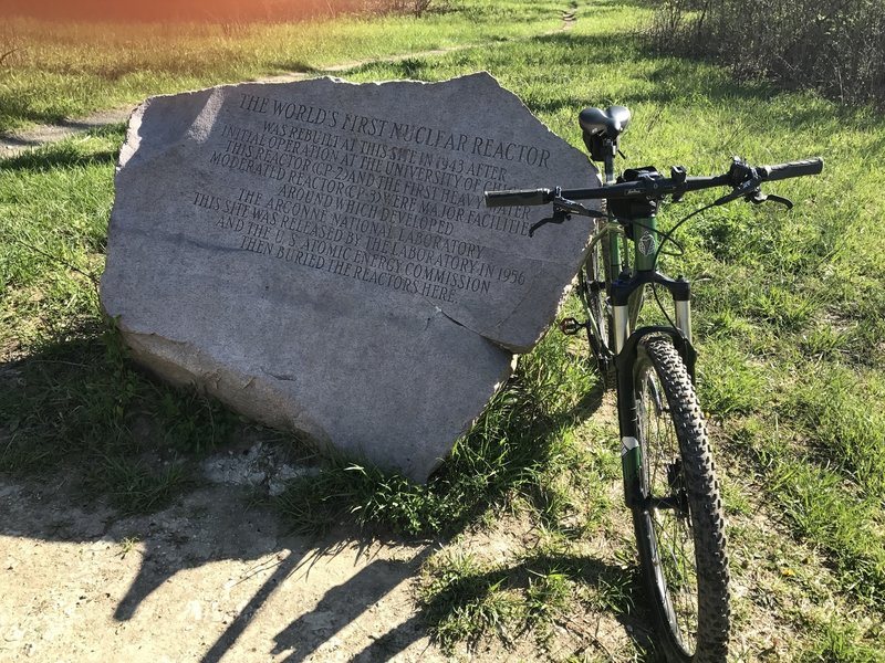 CP-2 marker. The Manhattan Project moved from Hype Park in Chicago to Red Gate Woods. This is the Pipeline trail off Old Argonne Road. Dept of Energy Argonne labs moved further west between Cass and Lemont Rd.