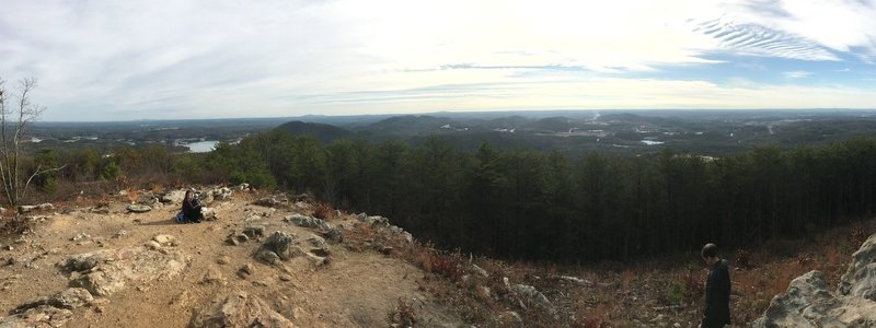 Panorama from the overlook on an overcast day. Lake Allatoona is on the left. The city of Cartersville on the right, and Kennesaw Mountain can often be seen off to the middle left.