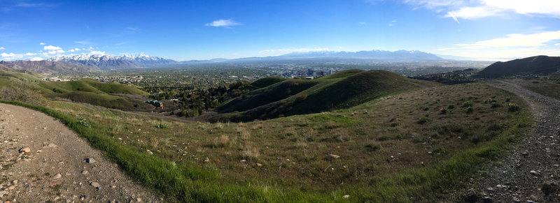 Panorama looking south into the Salt Lake County valley. The University of Utah to the left, Salt Lake City Downtown to the right.