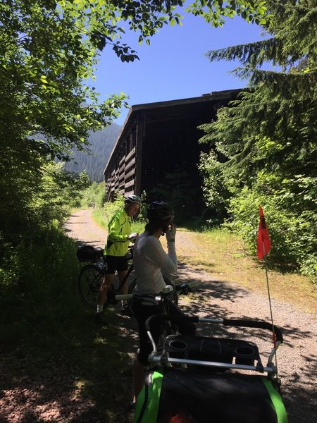 Part of an old avalanche shed that protected the train tracks along the John Wayne Pioneer Trail.