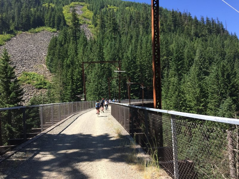 Crossing one of the many trestles! This one is over Hansen Creek.