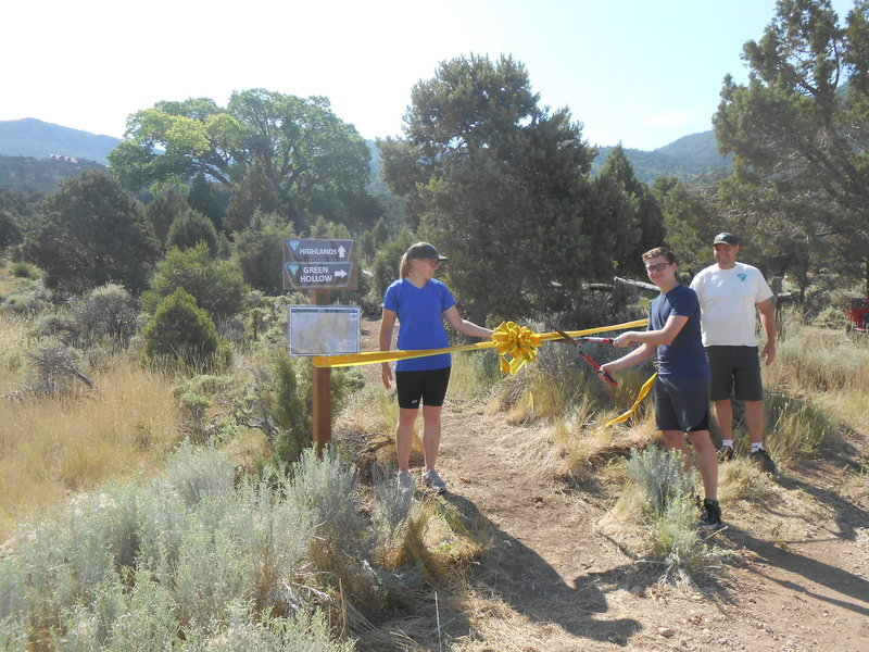 This is the July 8, 2017 ribbon cutting for the Highlands Trail. The picture is at the Greens Lake TH where it connects to the Green Hollow Trail.