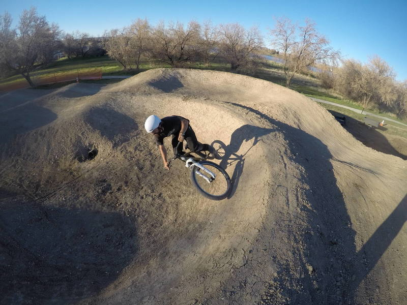 It's a pump track. It's big and beautiful as builder Shea Ferrell demonstrates.