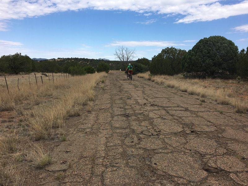 A good bit of the trail is on dirt doubletrack and a short stretch was on this old road.