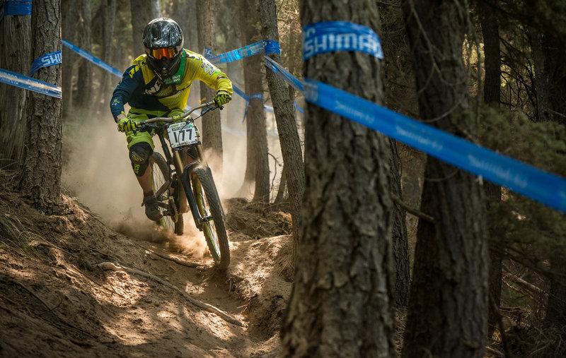 Alex Wyankos works through the dusty chute on Frankenbeans.