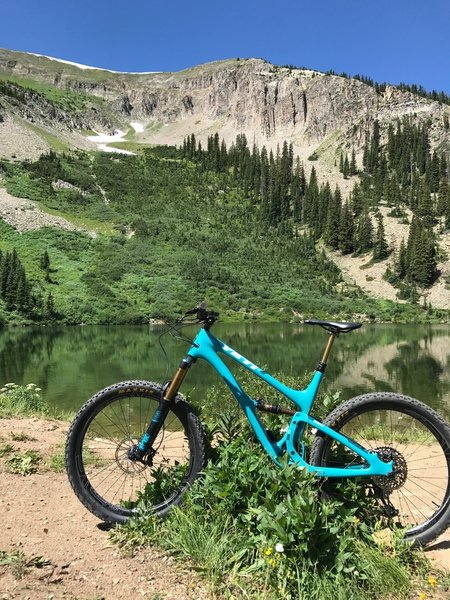 Awesome trail, just watching all the trout in the lake made the ride worth the climb.   Downhill to town is fun and fast!