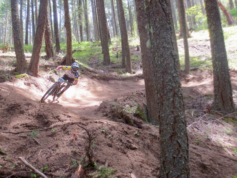 Jabberwocky is an intermediate trail but can be ridden aggressively for a challenge.