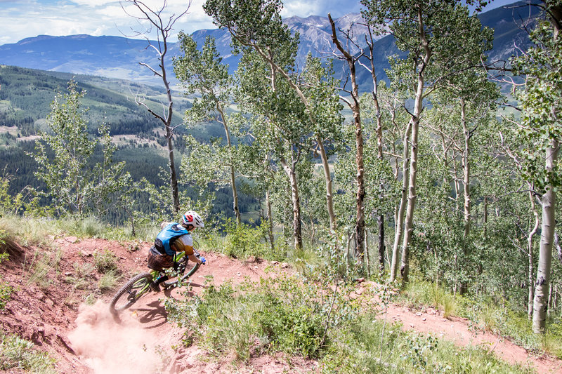 Another awesome banked switchback on the Teo descent!