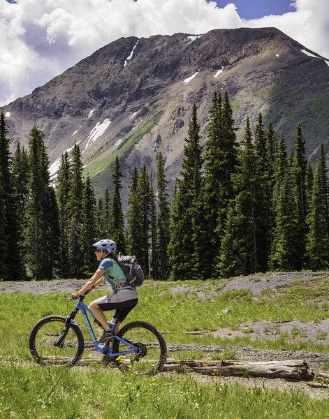 High alpine peaks surround the 401.