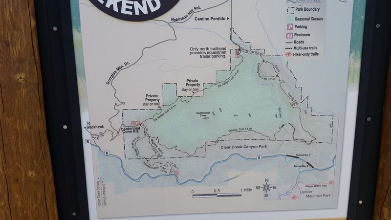 The Jeffco Trail map. Shows the 3 pertinent parking sites, Mayhem Gulch off of Hwy 6, and the Centennial Cone parking and the Camino Perdido Rd parking. The last 2 are easier start points.