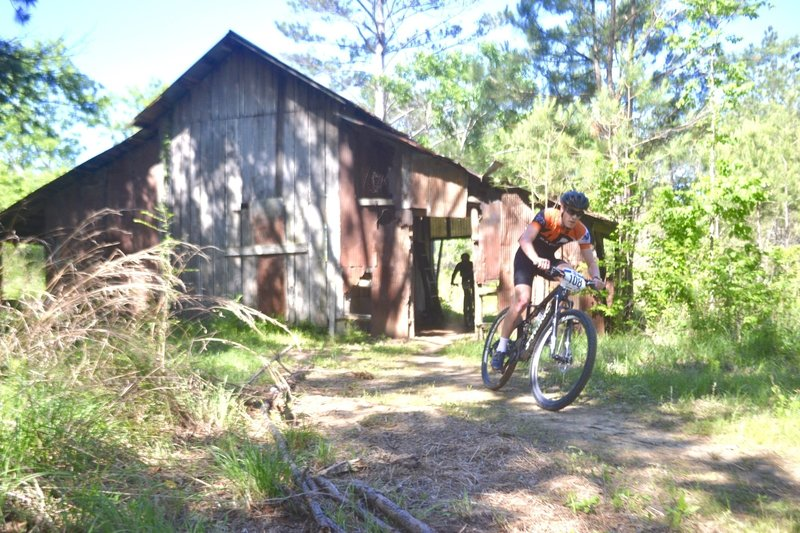 The trail now 10 miles long, goes through this old barn! So much FUN. the 2017 Dust N Bones race was the first event to enjoy this feature.