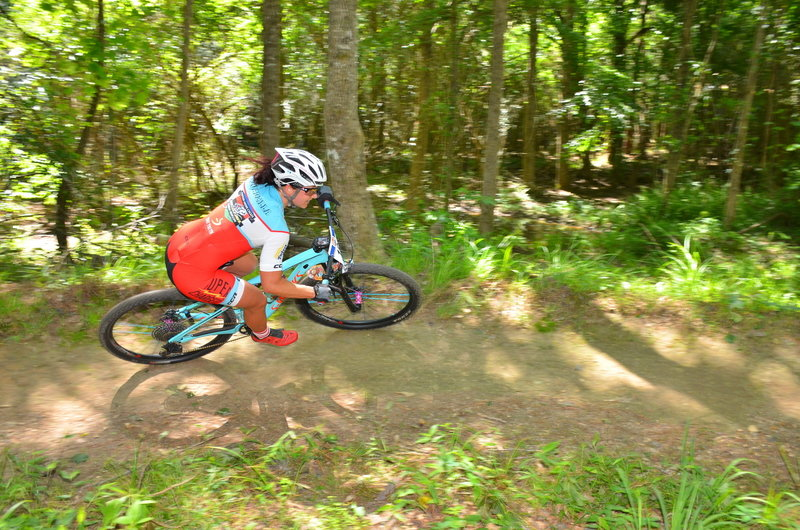 Great form and speed on the dirt berm below the ridge.
