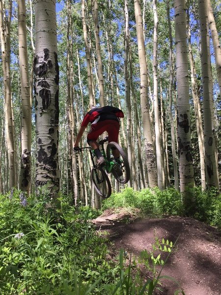 Airtime in the Aspens on Blue Ribbon.