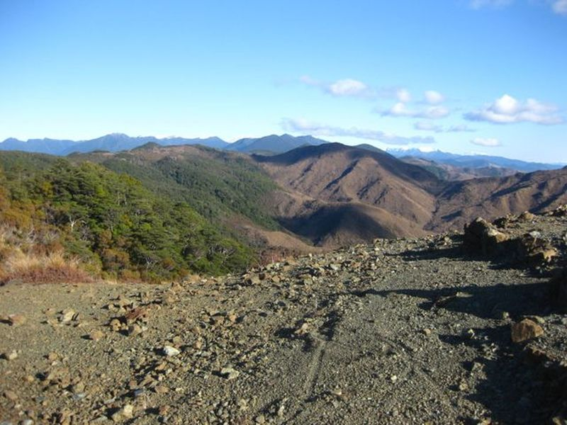 The view south from Coppermine Saddle across the mineral belt to the Richmond Ranges