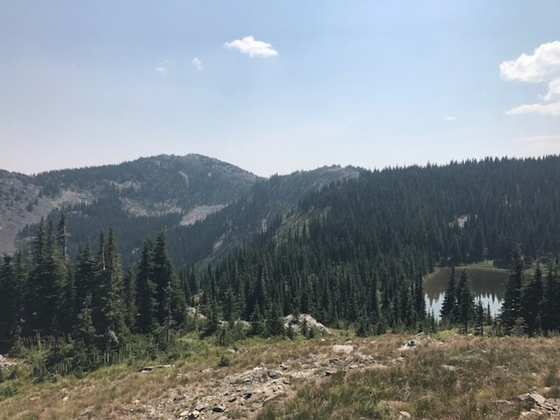 looking over divide lake towards Timber Mountain from the Buck Mountain Trail