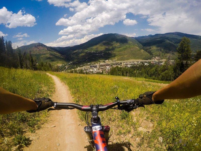 Vail mountain biking on Big Mamba.