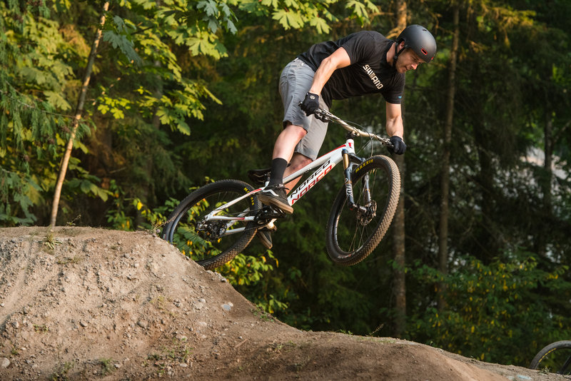 Bryn Atkinson doubles out of a corner on the Whatcom Falls Park Pumptrack.