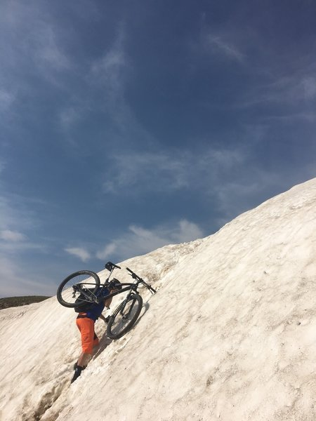 Climbing over the cornice toward the end of the 4x4 road.