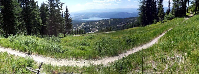 Summit Trail view looking down on Whitefish Lake.