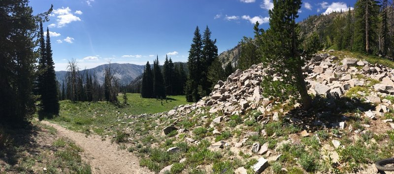 Panorama from top of Decker Creek Summit looking south-ish
