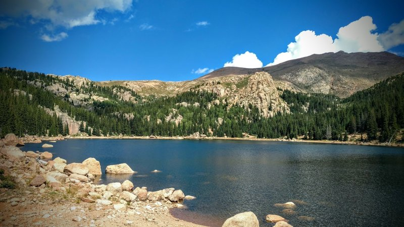Looking across Boehmer Reservoir from the end of the trail