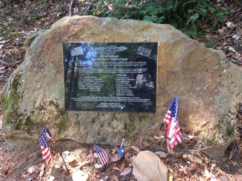"""Memorial plaque for airplane """"resolution"""" crash"""