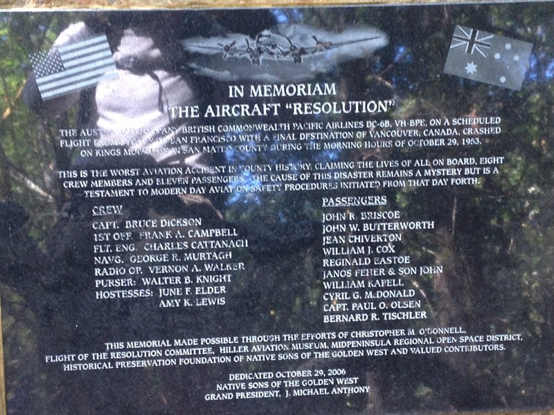 Memorial Plaque. The aircraft DC-6 was flying the Honolulu – San Francisco leg and crashed around here in October 1953. All 19 people on board were killed.