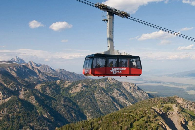 The Jackson Hole Tram can be seen above the trail