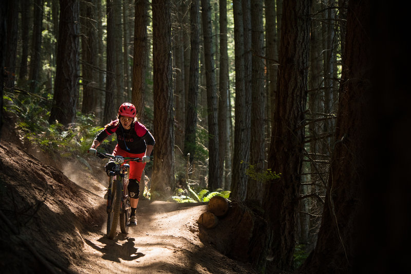Valerie Salladay powers out of an akward switchback on Two Dollar during the Cascadia Dirt Cup.