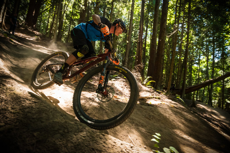 Fast berms invite riders to let it rip on Double Down. You just have to be able to hold on once things get rougher.