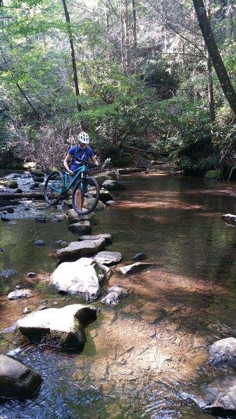 Rock hopping over Reasonover Creek