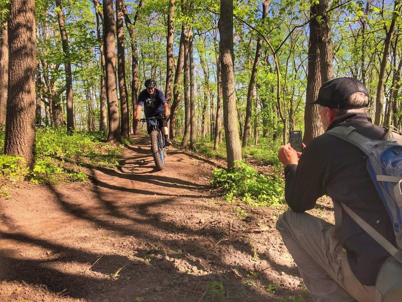 LAMBA Board Member Eric F. being snapped by Trail Builder Jake C.