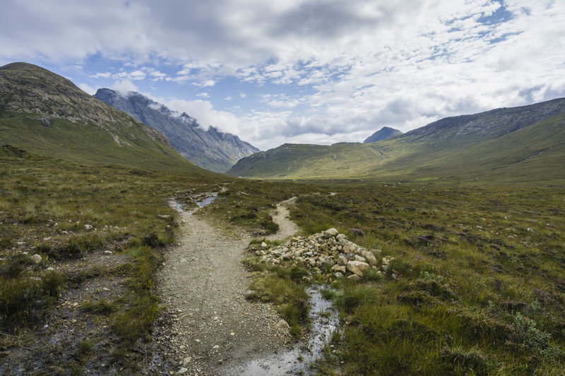 The singletrack through Glen Sligachan with towering mountains on either side and lochs in front of you is popular with hillwalkers and cyclists.