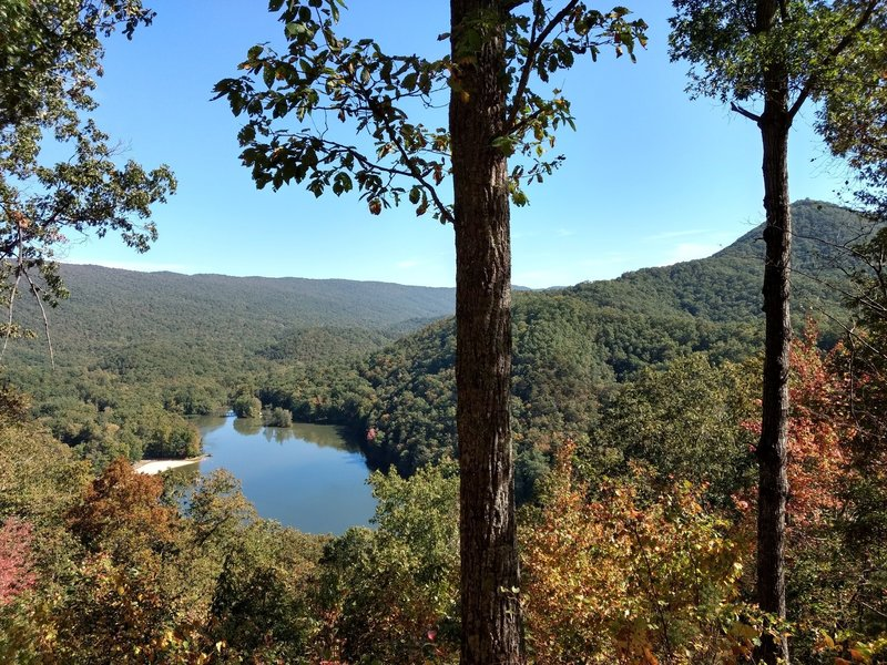 View of Molly's Knob and Hungry Mother Lake from the top of Clyburn Ridge Trail