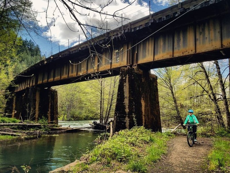 rustic railroad, river, rider